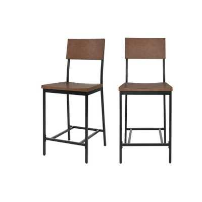 StyleWell Porter Black Metal Counter Stool with Back and Haze Oak Finish Seat (Set of 2) (16.93 in. W x 40 in. H), Haze/Black - Home Depot