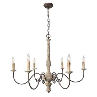 LNC 6-Light Gray Shabby Chic French Country Chandelier - Home Depot