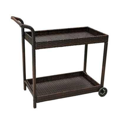 Noble House Aviva Wicker Outdoor Serving Bar Cart - Home Depot