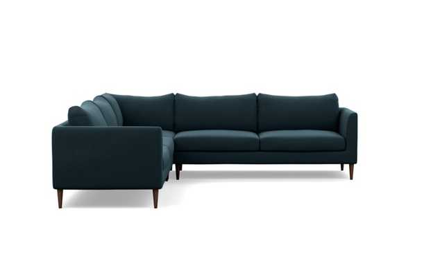 Owens Corner Sectional with Evening Fabric and Oiled Walnut legs - Interior Define