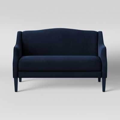 Vanga Shaped Back Loveseat Velvet Navy (Blue) - Opalhouse - Target