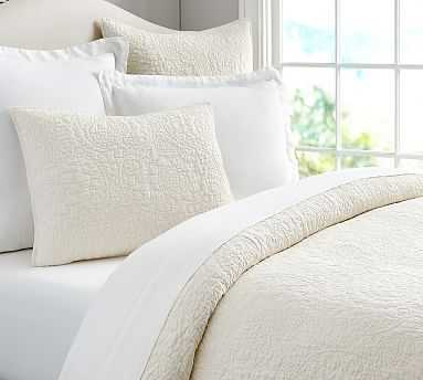 Belgian Flax Linen Floral Stitch Quilt, King/Cal. King, Ivory - Pottery Barn