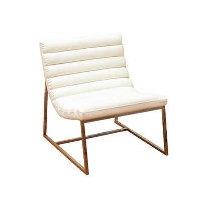 Parisian White Leather Sofa Chair - Home Depot