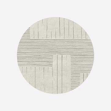 MTO Painted Mixed Stripes Rug, Ivory, 6' Round - West Elm