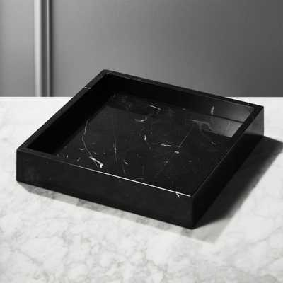 Stack Black Marble Tray - CB2