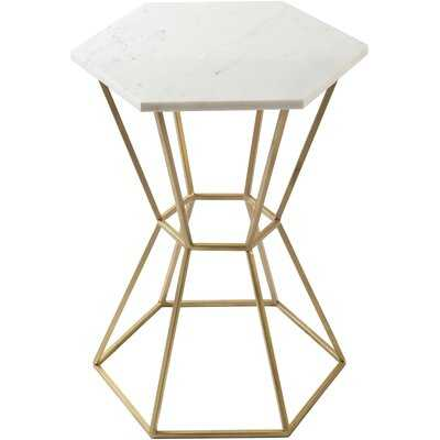 Kace Modern Marble, Gold End Table - Wayfair