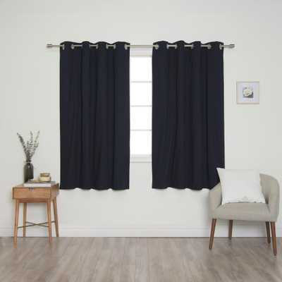 Best Home Fashion Navy (Blue) Solid Cotton Blackout Thermal Grommet Curtain Panel Set - 52 in. x 63 in. (2-Panel) - Home Depot