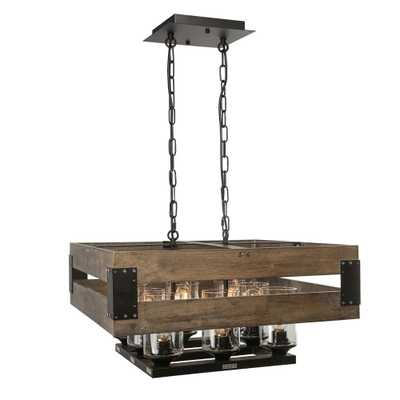 LNC 8-Light Rustic Black Chandelier with Clear Glass Shade - Home Depot