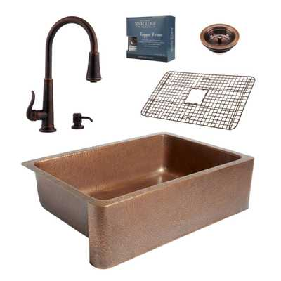 Pfister All-in-One 33 in. Copper Farmhouse Kitchen Sink Design Kit with Ashfield Pull Down Faucet, Antique Copper/Rustic Bronze - Home Depot