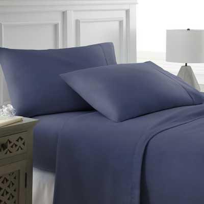 Performance Navy (Blue) California King 4-Piece Bed Sheet Set - Home Depot