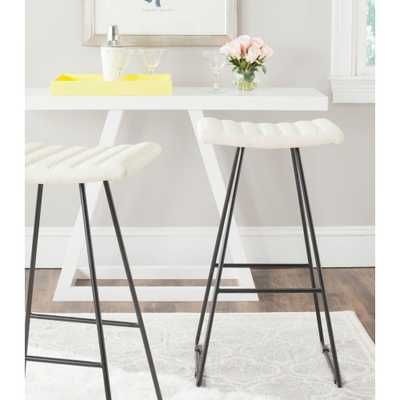 Akito 30 in. White Cushioned Bar Stool (Set of 2), Ivory - Home Depot