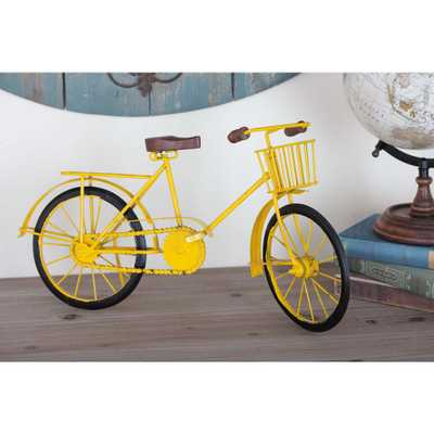 10 in. x 19 in. Vintage Iron Bicycle Decorative Sculpture in Yellow - Home Depot