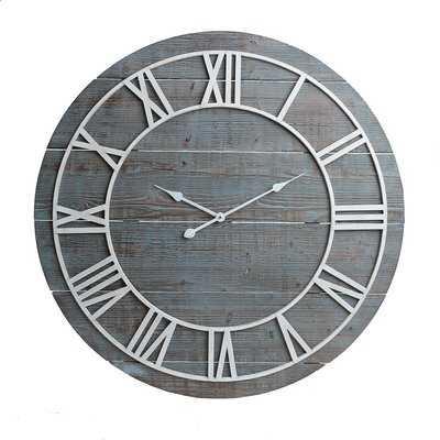 "Oversized Cato Rustic Wood Framesless 36"" Wall Clock - Wayfair"