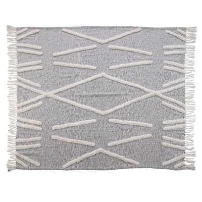 Abstract Zigzag Black Melange Pure Cotton Decorative Throw Blanket - Home Depot