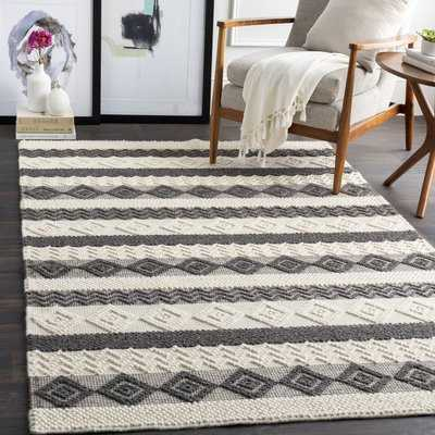 Clancy Global-Inspired Hand-Knotted Wool/Cotton Beige/Charcoal Area Rug - Wayfair