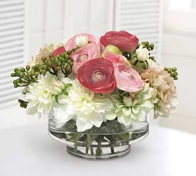 Faux Rose And Hydrangea In Clear Vase - Pottery Barn