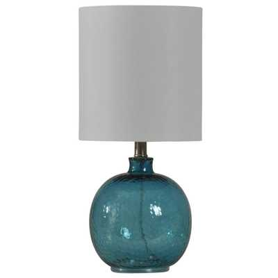 StyleCraft 20 in. Blue Table Lamp with White Hardback Fabric Shade - Home Depot
