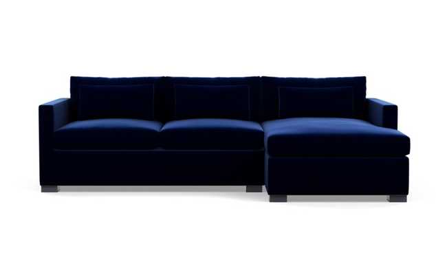 Charly Sectionals with Oxford Blue Fabric and Painted Black legs - Interior Define