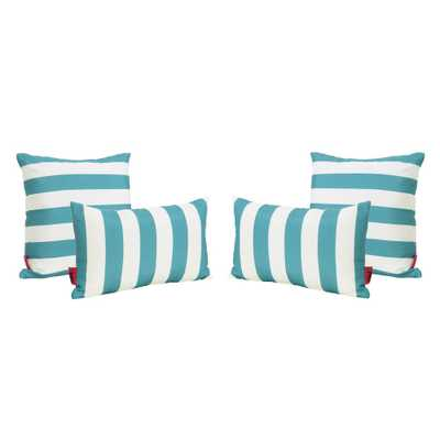 Noble House Coronado Dark Teal Outdoor Throw Pillow (4-Pack) - Home Depot