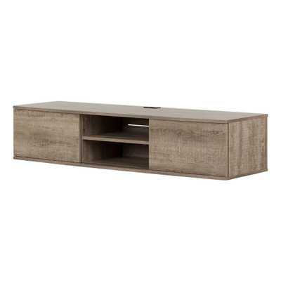 Agora Weathered Oak 56 in. Wide Wall Mounted Media Console - Home Depot
