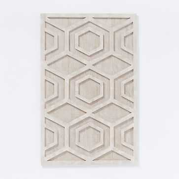 Graphic Wood Wall Art, Whitewashed, Hexagon, Individual - West Elm