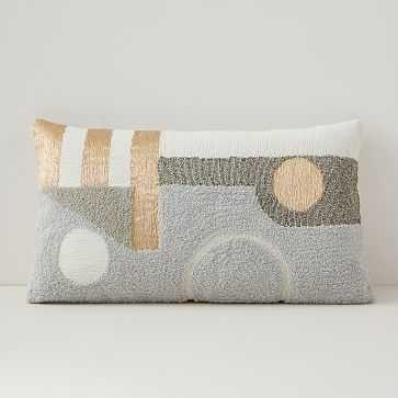 "Embellished Deco Contours Pillow Cover, 12""x21"", Neutral - West Elm"