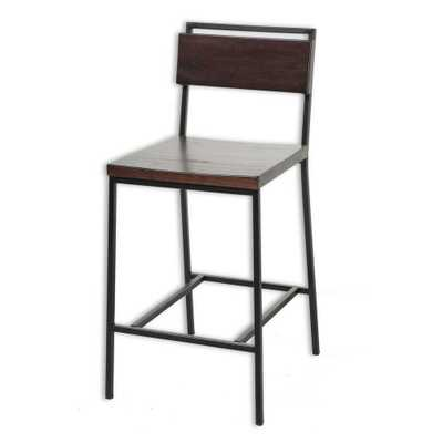 26 in. Olympia Metal Counter Stool with Black Cherry Wooden Seat and Matte Black Finished Frame - Home Depot