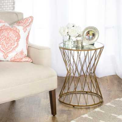 Hourglass Metal Accent Table Gold Mirror Top - Home Depot