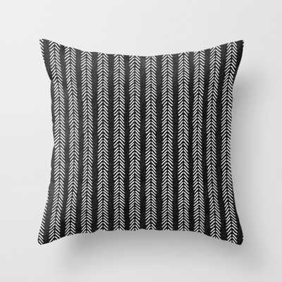 """Mud cloth - Black and White Arrowheads Throw Pillow - Outdoor Cover (16"""" x 16"""") with pillow insert by Beckybailey1 - Society6"""