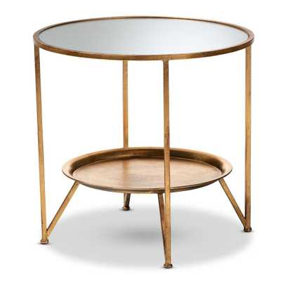 Baxton Studio Tamsin Antique Gold Accent Table with Tray Shelf - Home Depot