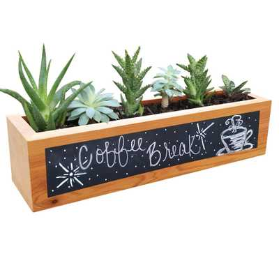 4 in. x 4 in. x 16 in. Succulent Planter Wood Rectangular with Chalkboard Front Planter, Natural - Home Depot