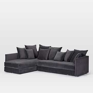 Serene Set 4, Right Arm Sofa, Right Arm Sofa, Performance Velvet, Shadow - West Elm