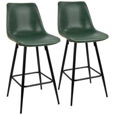 Durango 26 in. Black and Green Vintage Faux Leather Counter Stool (Set of 2), Green/Black - Home Depot