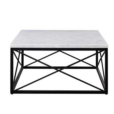 Steve Silver Skyler White Marble Top Square Cocktail Table - Home Depot