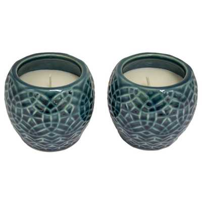 4 in. Aqua Rivage Ceramic Citronella Candles, Set of 2 - Home Depot