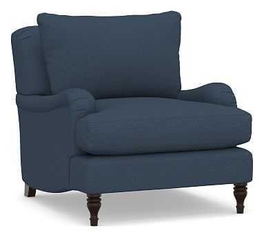 Carlisle Upholstered Armchair, Polyester Wrapped Cushions, Brushed Crossweave Navy - Pottery Barn