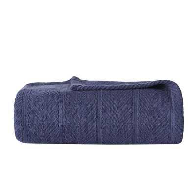 Eb Navy (Blue) 100% Cotton King Blanket - Home Depot