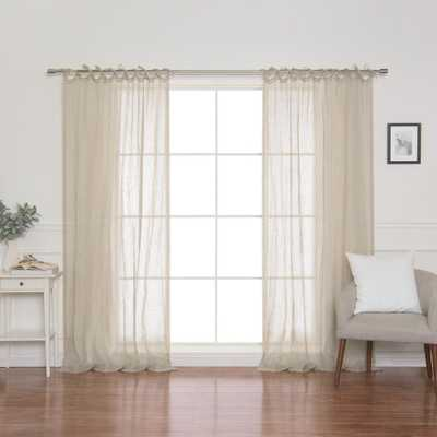Best Home Fashion Natural Linen Gauze Tie Top Curtain Panel 52 in. x 84 in. - Home Depot
