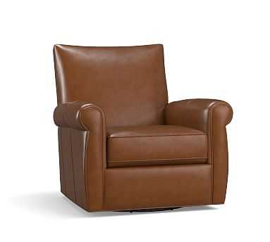 Grayson Leather Swivel Armchair, Polyester Wrapped Cushions, Statesville Caramel - Pottery Barn