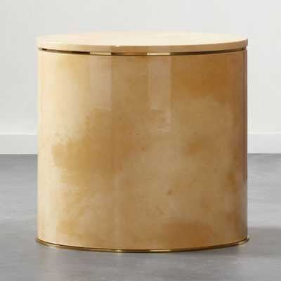 Lee Hi-Gloss Vellum Storage Side Table - CB2