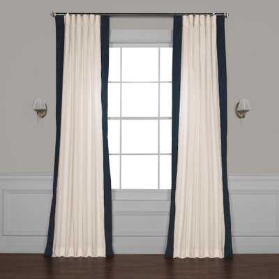 Exclusive Fabrics & Furnishings Fresh Popcorn and Polo Navy Blue Room Darkening Vertical Colorblock Curtain - 50 in. W x 96 in. L - Home Depot