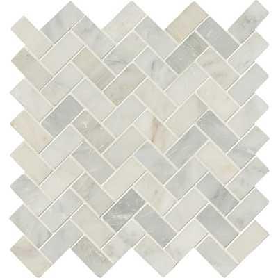 Arabescato Carrara Herringbone Pattern 12 in. x 12 in. x 10 mm Honed Marble Mesh-Mounted Mosaic Tile (10 sq. ft. / case) - Home Depot