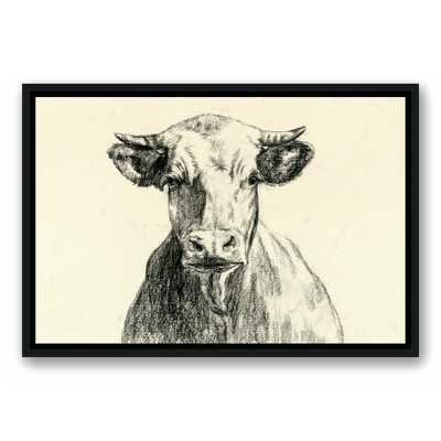 16 in. x 24 in. ''Farmhouse Cow Sketch'' Printed Framed Canvas Wall Art - Home Depot