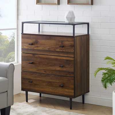 Welwick Designs Modern Glass Top 3-Drawer Dark Walnut Dresser - Home Depot