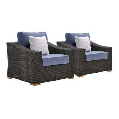 La-Z Boy New Boston 2-Piece Wicker Outdoor Lounge Chair with with Sunbrella Spectrum Denim Cushion - Home Depot