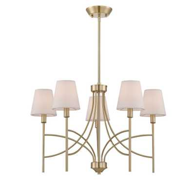 World Imports Millau Collection 5-Light Satin Gold Chandelier with Fabric Shade - Home Depot