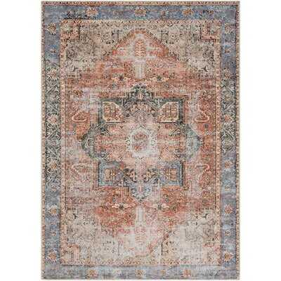 Mya Oriental Terracotta/Camel/Pale Blue Area Rug - Wayfair