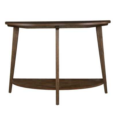 Richland Burnt Oak Demilune Console Table with Glass Top - Home Depot