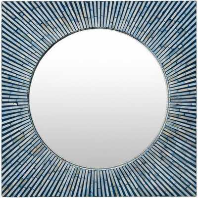 Avondale Square Blue Mirror - Wayfair