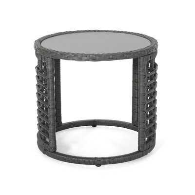 Coelho Lampman Outdoor Modern Boho Wicker Side Table with Tempered Glass Top - Wayfair